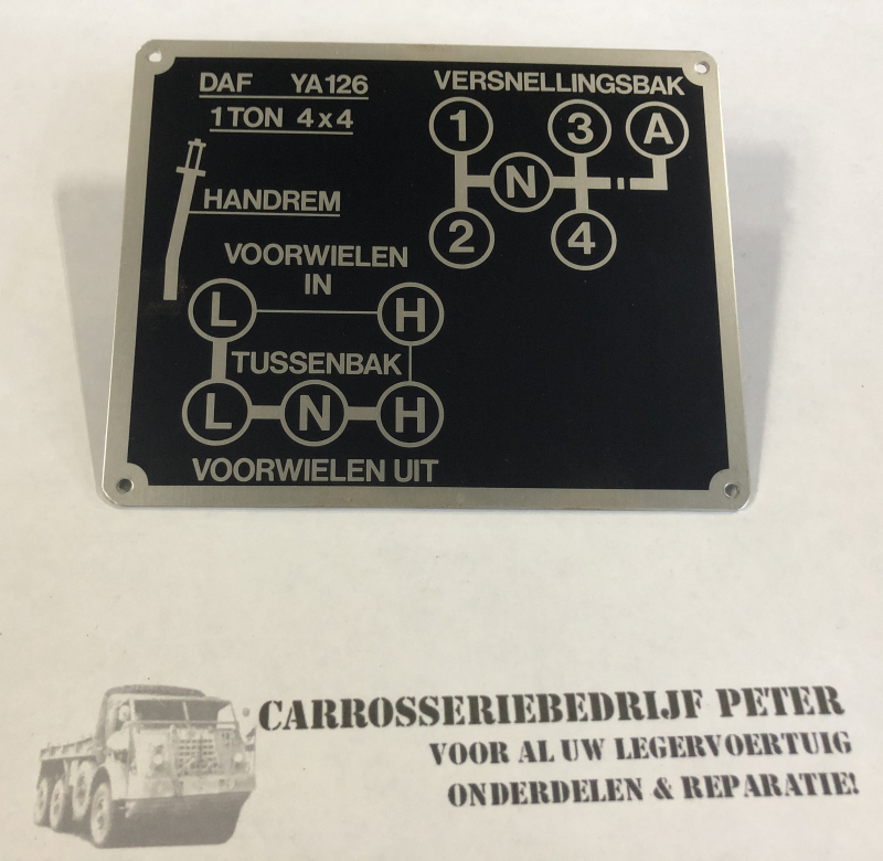 DAF YA126 Instructie plate dashboard