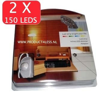 2 X WARM WIT LEDSTRIP MET 150 LED'S