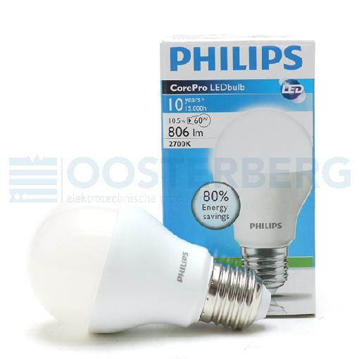 PHILIPS LEDLAMP - 10.5W - E27 - WARM WIT